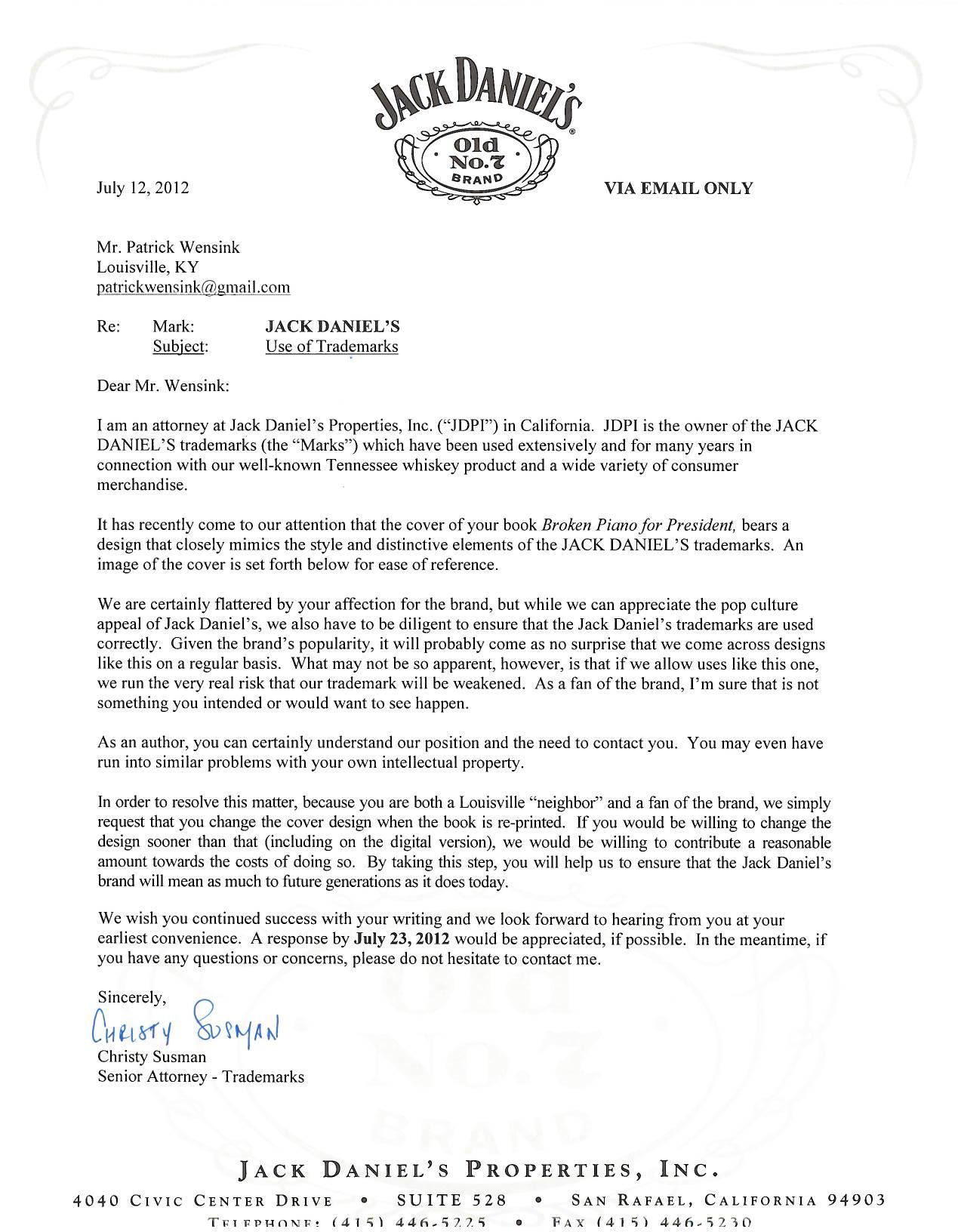 The Letter, Penned By Jack Danielu0027s Senior Trademark Attorney ...